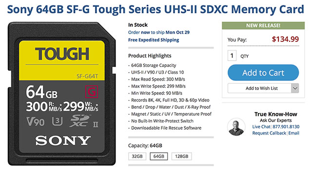 a48a9744b91 Sony SF-G Tough UHS-II SD Memory Cards In Stock Now!
