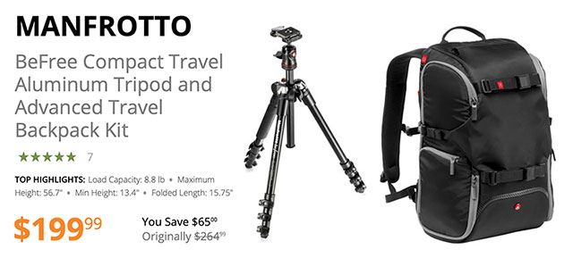 6b1a67e823 Manfrotto BeFree Compact Travel Aluminum Tripod + Travel Backpack Just   199.99