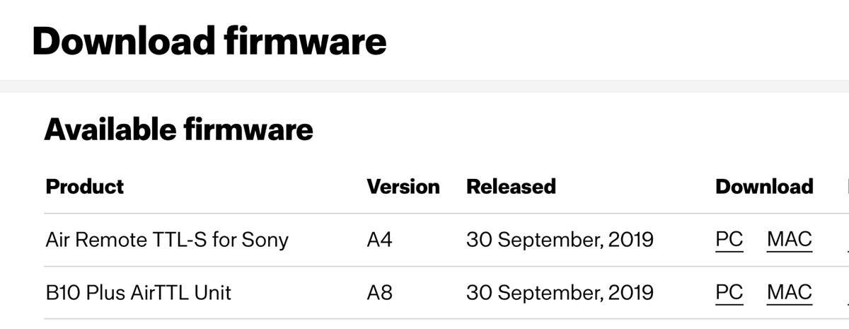 Profoto Firmware Updates for A1, A1X, B10, B10 Plus, Profoto Connect & Air Remote TTL-S