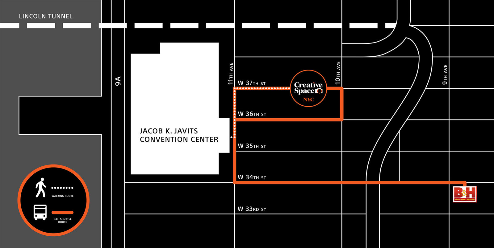 Map to Sony Creative Space NYC