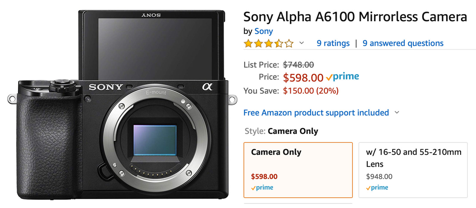 $150 Savings on Sony a6100 cameras