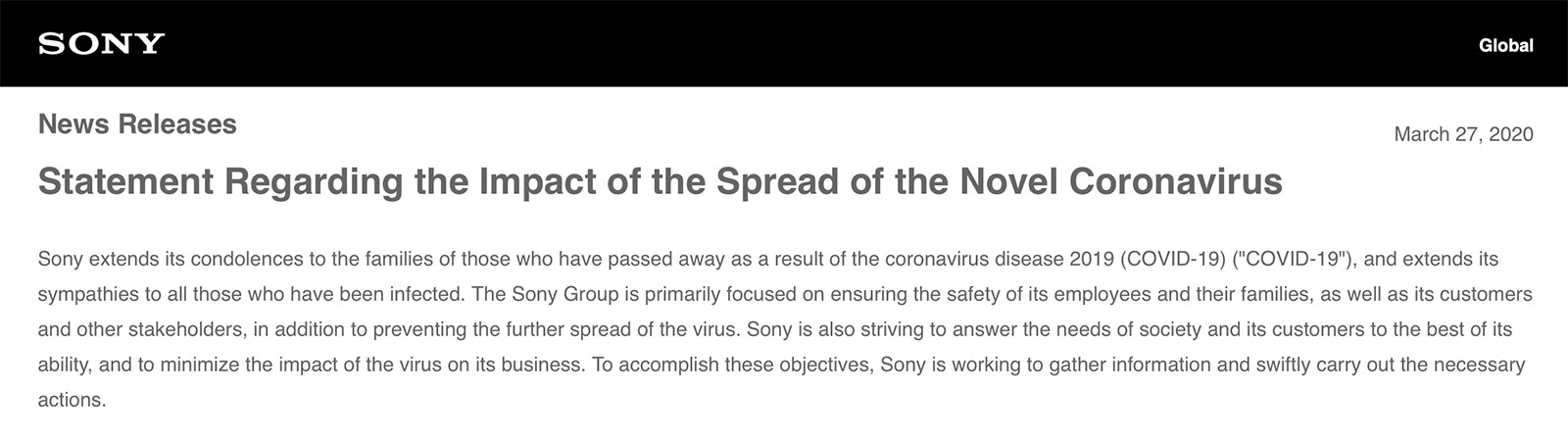 Sony Statement Regarding the Impact of the Spread of the Novel Coronavirus