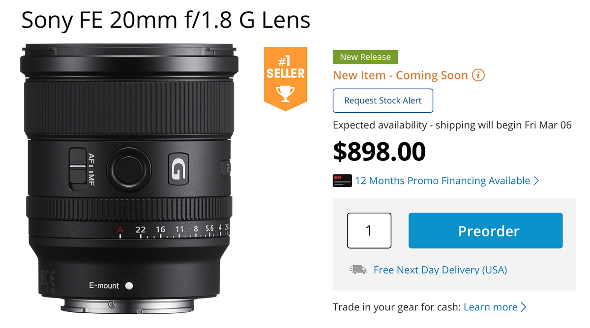 Sony FE 20mm F1.8 G Begins Shipping Tomorrow
