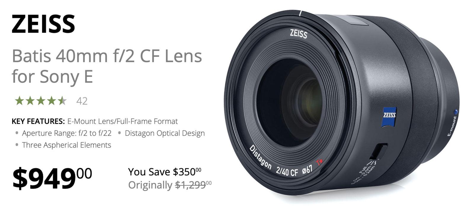 Zeiss Batis 40mm F2 FE lens deal