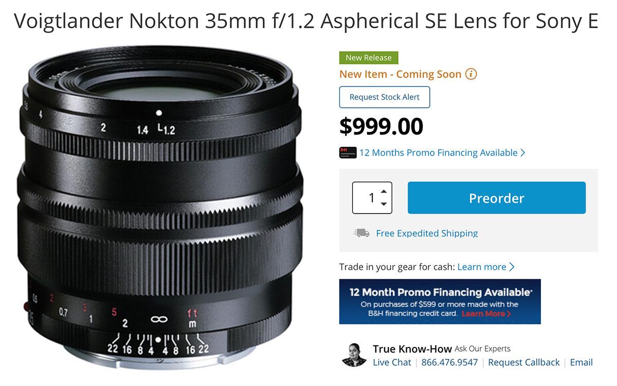 Voigtlander Nokton 35mm f/1.2 Aspherical SE Lens
