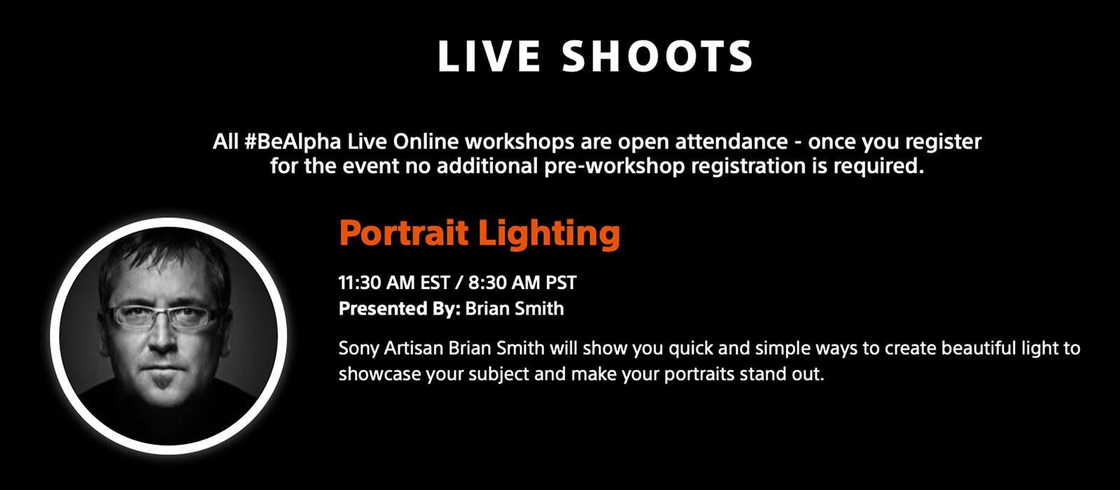 Brian Smith BeAlpha Live Shoot