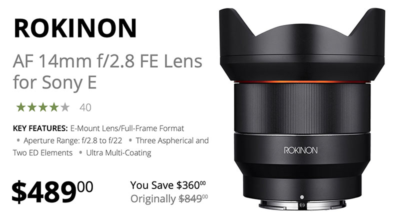 Save $360 Today on Rokinon AF 14mm F2.8 FE Lens
