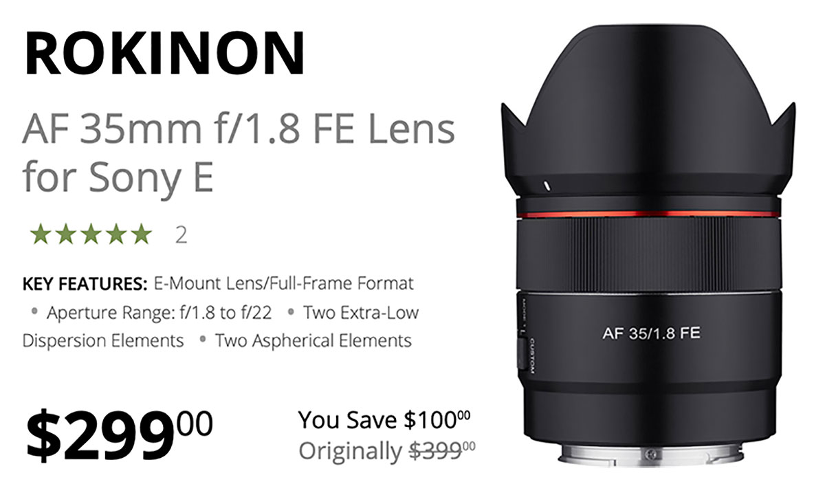 Save $100 Today on Rokinon AF 35mm F1.8 FE Lens