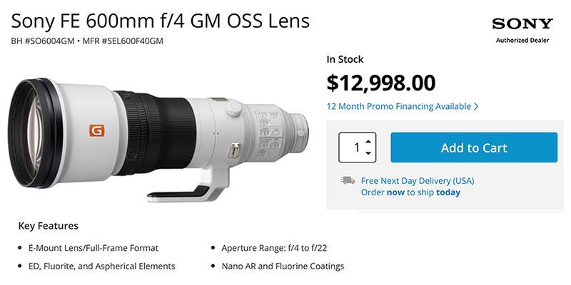 Sony FE 600mm F4 GM lens in-stock