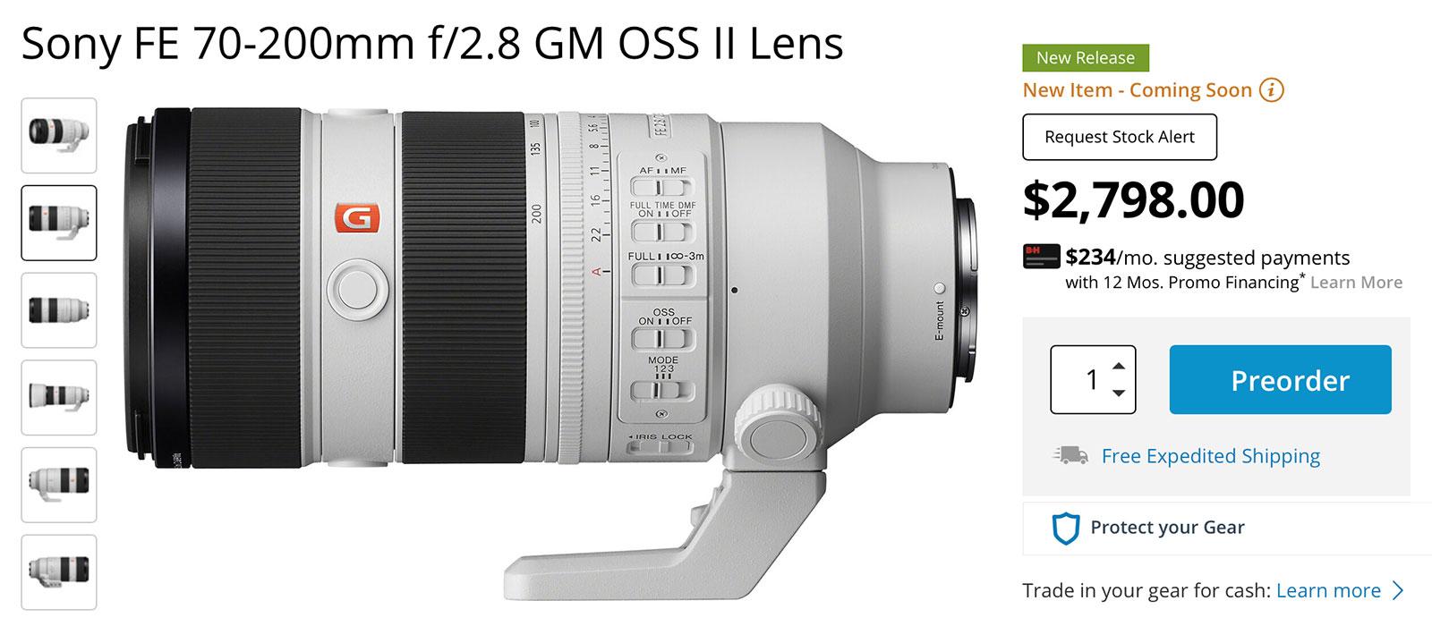 Sony FE 70-200mm f/2.8 GM OSS II Lens